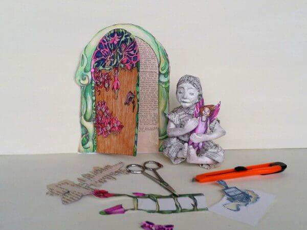 Elfen Tür basteln: DIY mit Malvorlage
