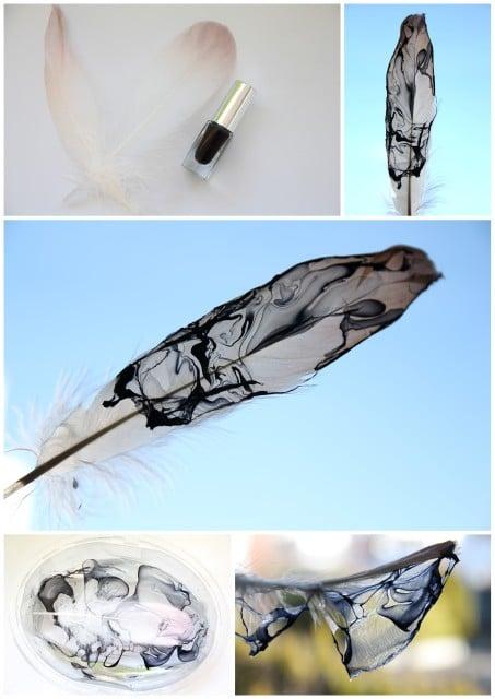 Federn mit Nagellack marmorieren