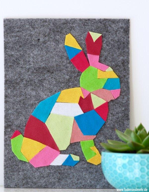 Geometrischer Hase aus Filz
