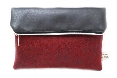 Rot-schwarze Foldover-Clutch
