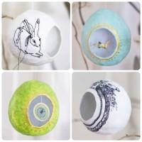 Pappmaché-Eier  benäht, bemalt, gefüllt...