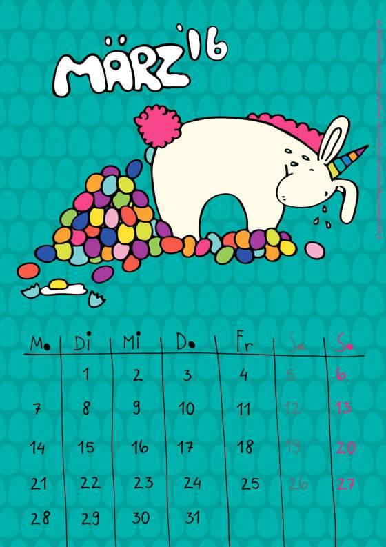 Kalender – März 2016 - freebie - byStoffregen