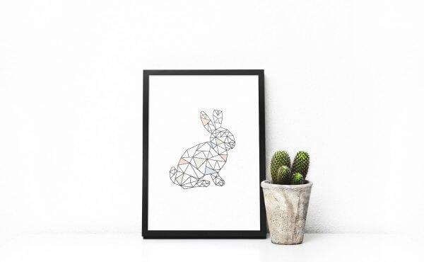 """Geometrisches Poster """"Osterhase"""""""