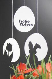 """3 Vorlagen für schnelle & schlichte Osterdeko aus Papier: Osterhase & Tulpe & """"Frohe Ostern"""""""