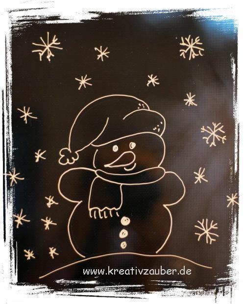 Winterfenster bemalen mit kreidemarker handmade kultur - Kreidemarker vorlagen weihnachten ...