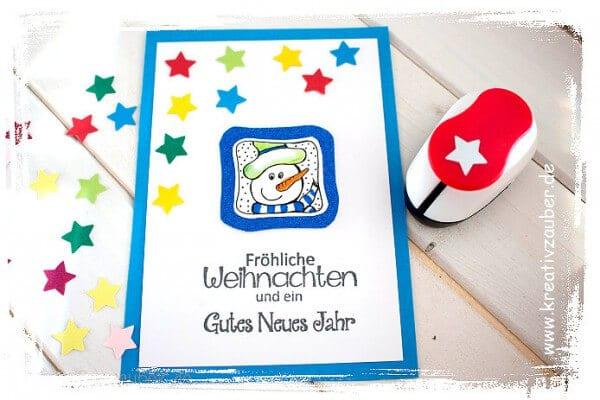Weihnachtskarte mit Motivstempel und Motivlocher