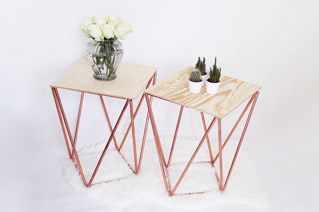 beistelltische aus kupferrohr selber bauen handmade kultur. Black Bedroom Furniture Sets. Home Design Ideas