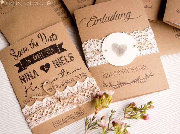 Hochzeitseinladungen aus Kraftpapier - Inkl Vorlage