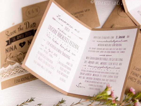 Hochzeitseinladungen Aus Kraftpapier Inkl Vorlage