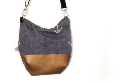 Umhängetasche jeansblau/kupfer mit Ankern