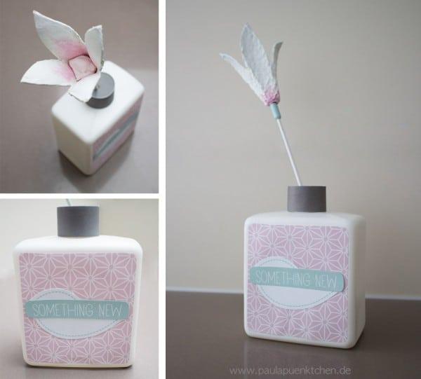 Upcycling: Eine kleine Blumenvase mit Papierblume