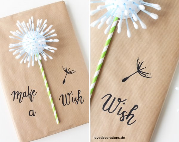 DIY Geschenkverpackung: Pusteblume