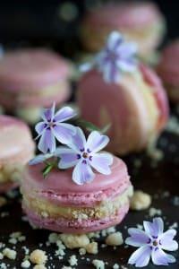 Rhabarber-Crumble-Macarons mit Vanillecreme