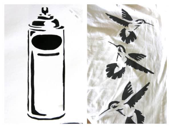 Textildruck mit Schnellhefterschablonen