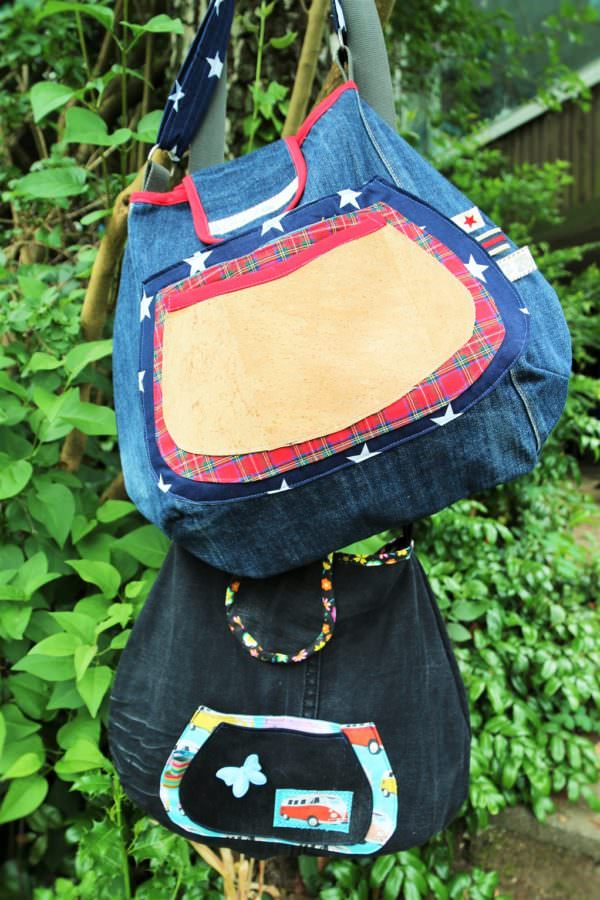 Freebook: Schultertasche aus Jeans nähen | Upcycling