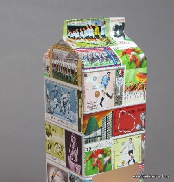 Fußball-Teelicht mit Briefmarken oder Panini-Fußballbildern