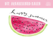 Malen mit Aquarell - sommerliche Wassermelone