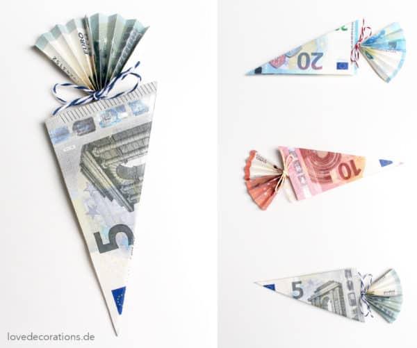 Geldschein falten: Schultüte