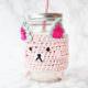 Tassenwärmer häkeln mit Katzenmotiv