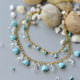 Halsketten mit Glasperlen umd Herzen Türkis Perlen