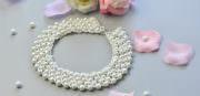 Wie handgefertigte weisse Echte Perlen Halskette