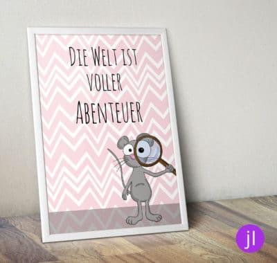 """A4 Kinder-Poster """"Abenteuer-Maus"""""""