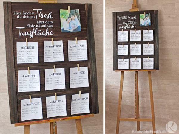Sitzplan Tafel Zur Hochzeit Handmade Kultur