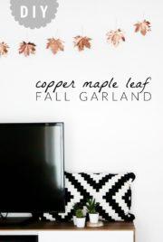 DIY Kupfer Herbst-Girlande aus Ahornblättern