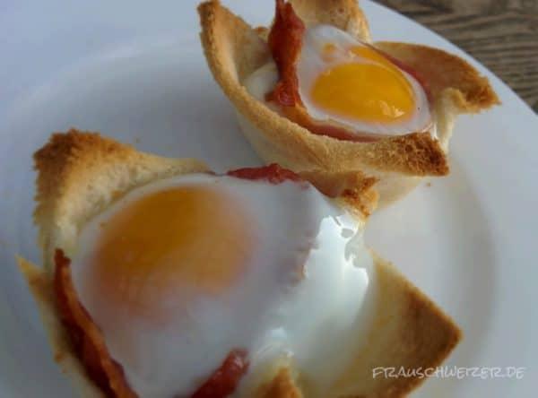 gebackene Eier für Frühstück