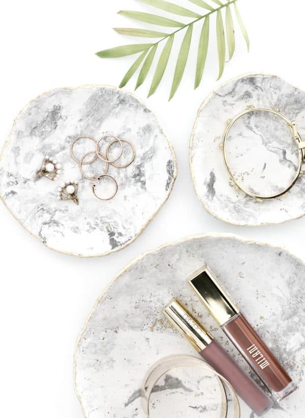 DIY Marmor-Schmuck-Schale mit Gold-Inlay