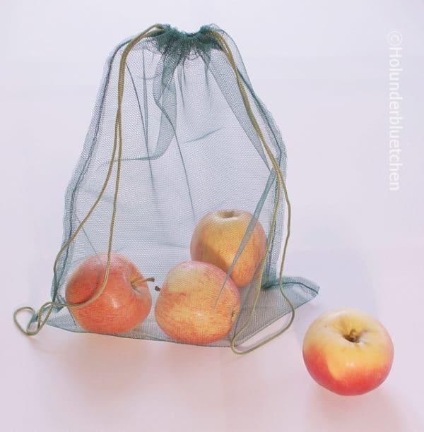 So haften die Etiketten auf selbst genähten Obstbeuteln