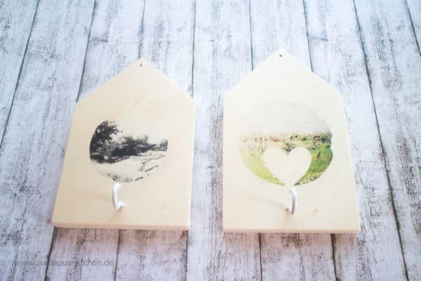DIY-Schlüsselhaken: Holzhäuschen mit Foto Transfer
