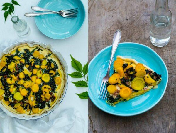 Quiche mit frischem Spinat, Zucchini und gelben Möhren