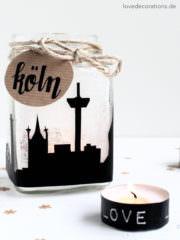DIY Skyline Teelichtglas