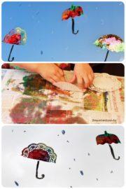 Fensterbild Regenschirm und Heißluftballon im Herbst