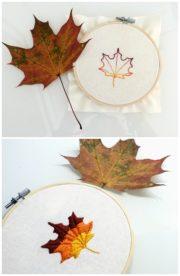 Buntes Herbstblatt zum Nachsticken mit Plattstich-Tutorial