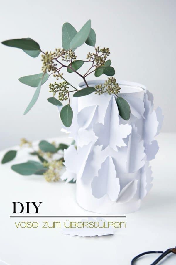 DIY Herbstliche Papiervase zum Überstülpen