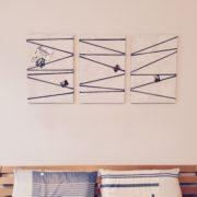 Strippen im Schlafzimmer: Leinwand-zur-Pinnwand-Upcycling