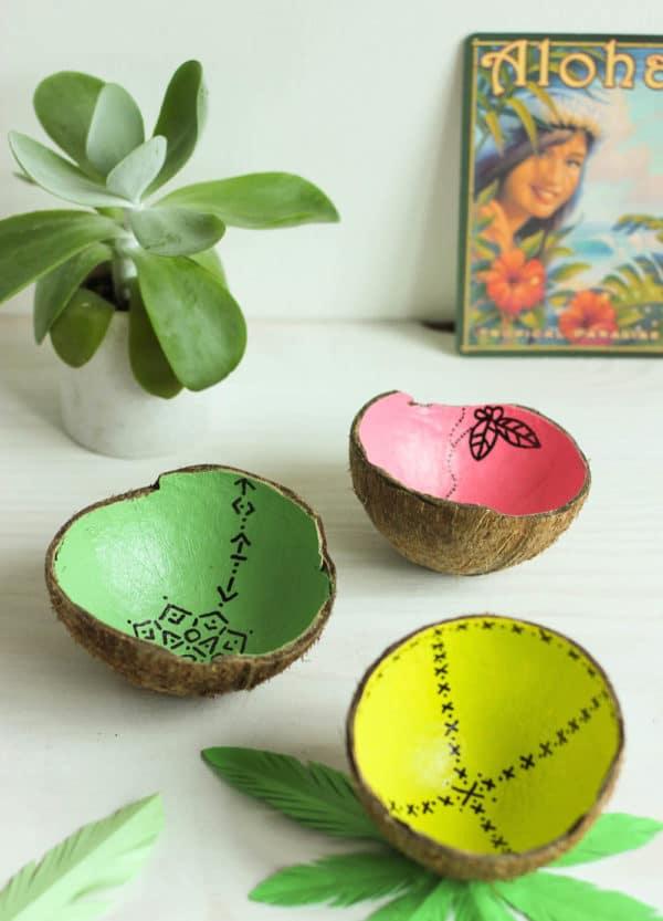 Schalen aus Kokosnüssen