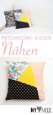 Asymmetrisches Patchwork-Kissen nähen