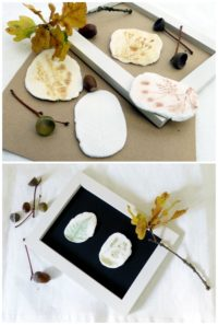 Kleine Herbst-Reliefs aus Naturmaterialien und Modelliermasse