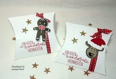 2 weihnachtliche Pillowboxen