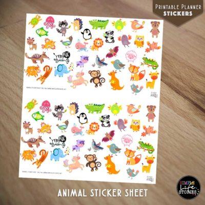 Ausdruckbare Sticker: Animal Sticker Sheet