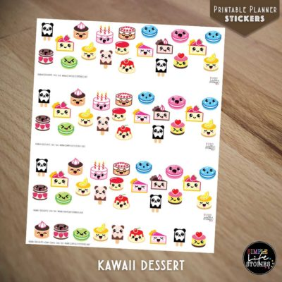 Ausdruckbare Sticker: Kawaii Dessert