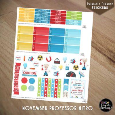 Ausdruckbare Sticker: November Professor Nitro