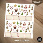 Ausdruckbare Sticker: Santa Is Coming