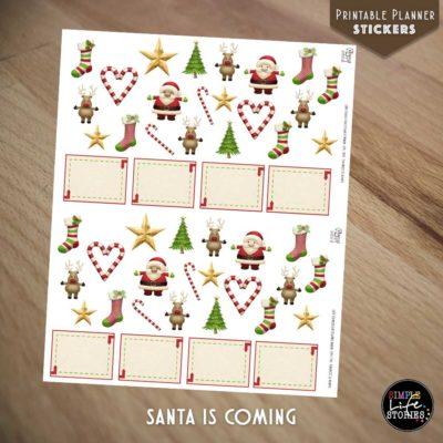 Ausdruckbare Sticker: Santa Is Coming