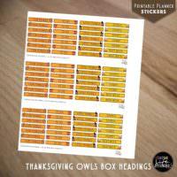 Ausdruckbare Sticker: Thanksgiving Owls Box Headings