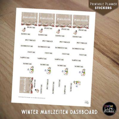 Ausdruckbare Sticker: Winter Mahlzeiten Dashboard
