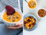 Gegrillte Paprika-Linsen-Dip und Karottenhummus mit Veggie Gemüse Chips